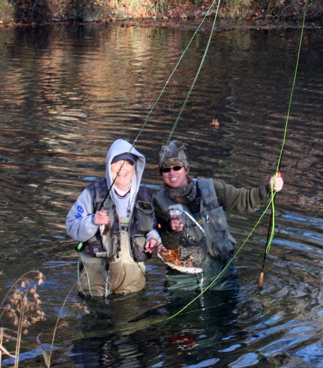 fishing Nancy and Barb women fishing in stream