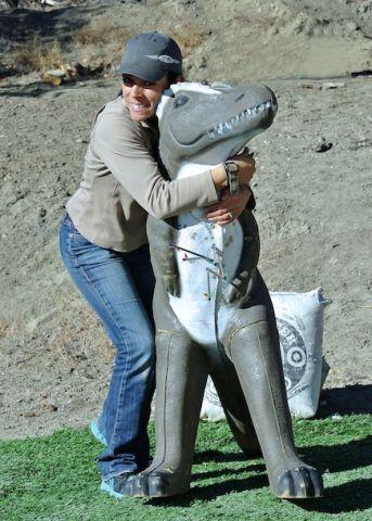 MIa Anstine and dinosaur target
