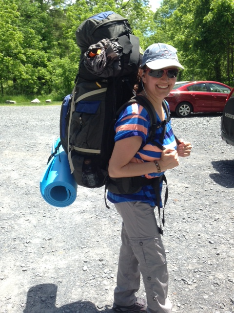 Woman hiking backpack