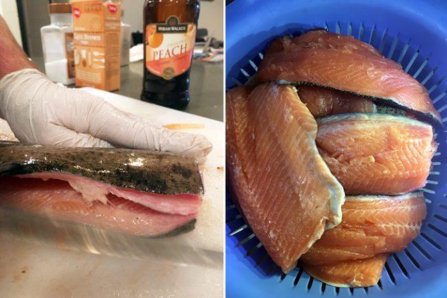 smoked-trout-preparing