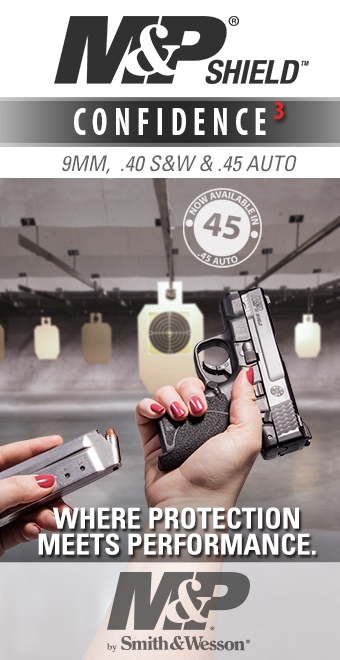 Smith & Wesson M&P Shield Confidence 3 pistol available in 9mm, .40 S&W, and .45 auto. Smith & Wesson where protection meets performance.