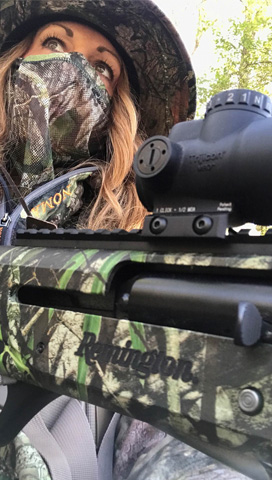Jessical Kallman Hunting with Remington Shotgun. Jessical Kallman Hunting with Remington Shotgun