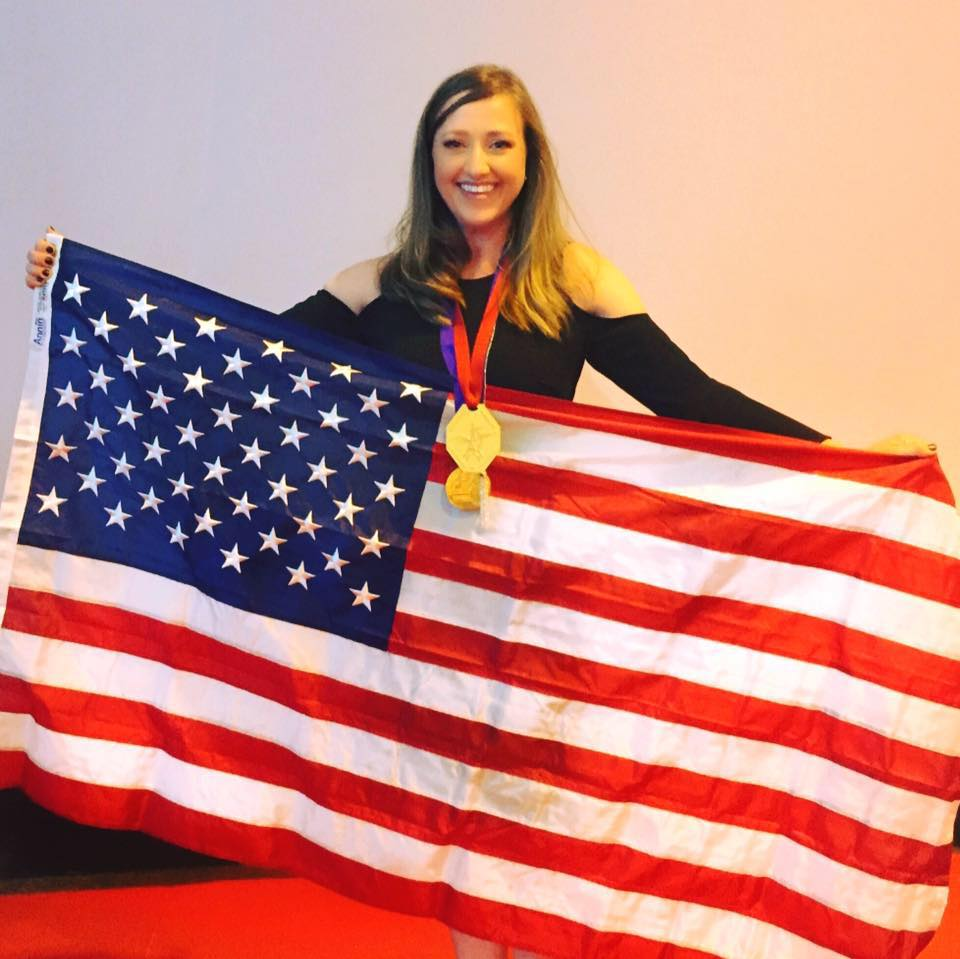 Julie Golob gold and flag