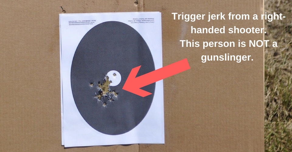 Trigger jerk from a right-handed shooter. This person is NOT a gunslinger.