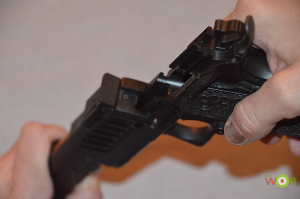 reassemble gun C move frame onto slide Clean a Pistol
