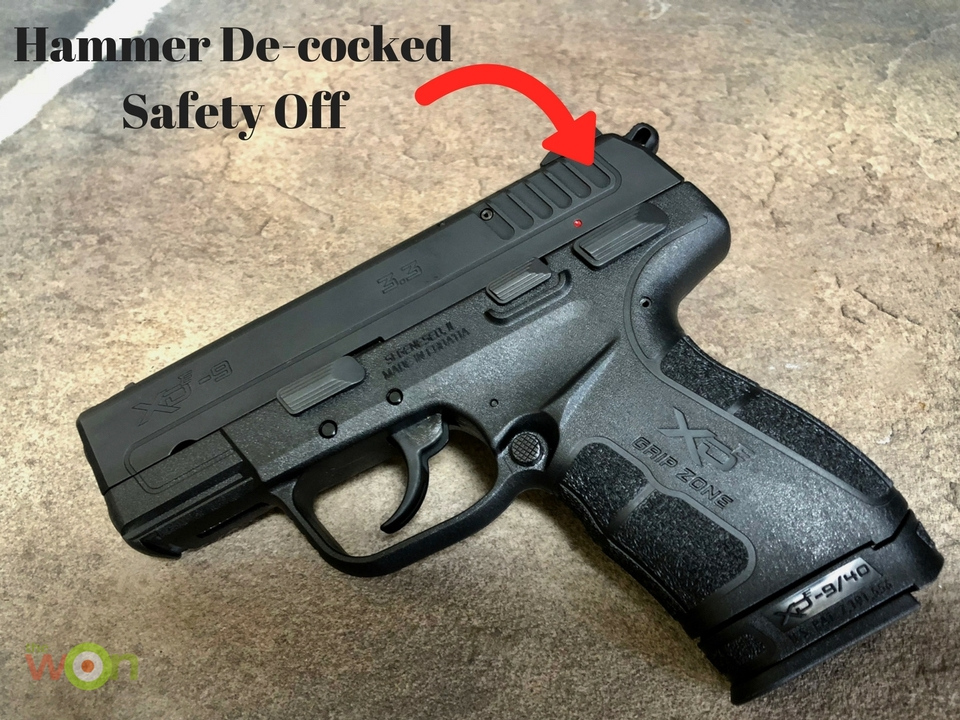 Hammer De-cocked safety off