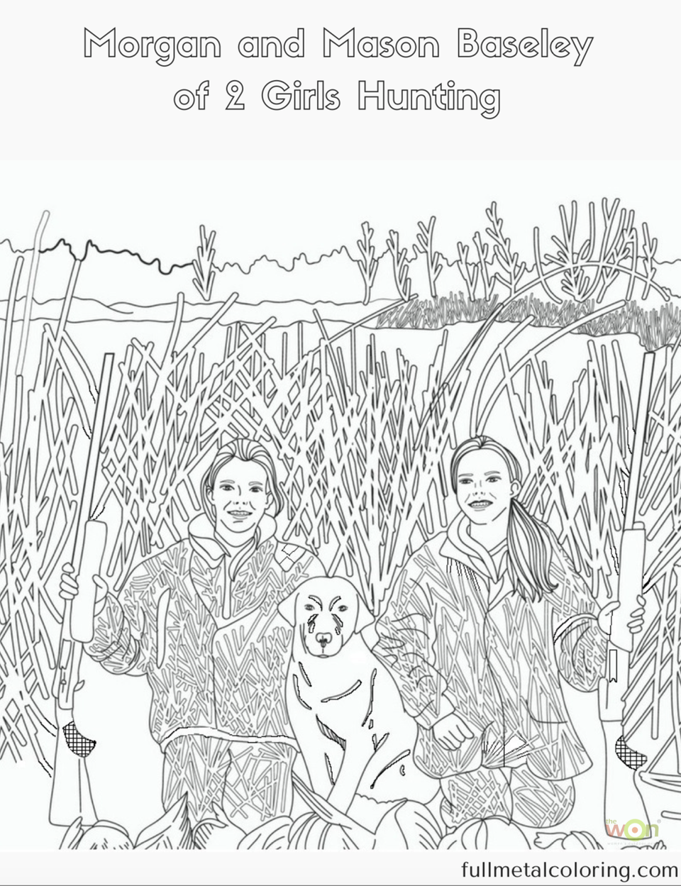 2 girls hunting coloring page