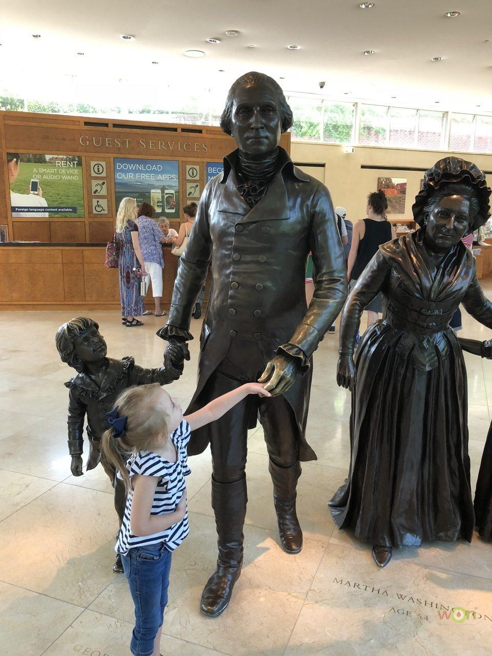 "Raelynn ""meeting"" America's History (George Washington & Family) at Mount Vernon, VA"