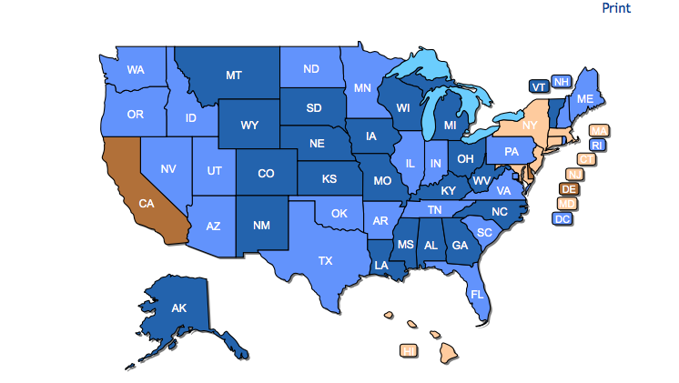 reciprocity map from USA Carry concealed carry permit