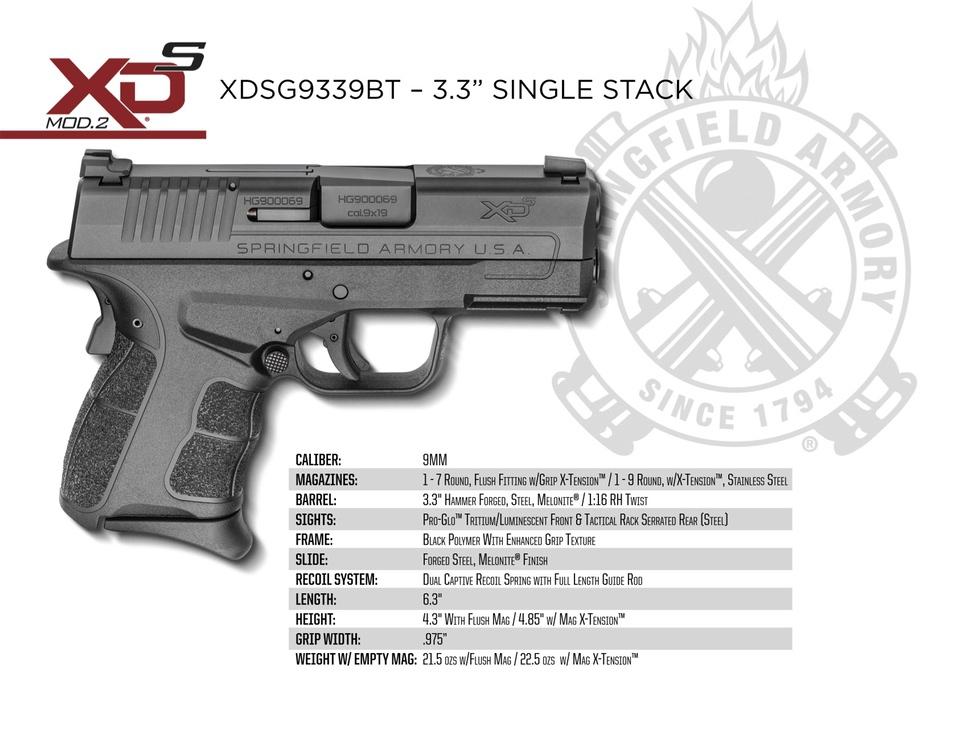XD-S Mod2 9mm Specs