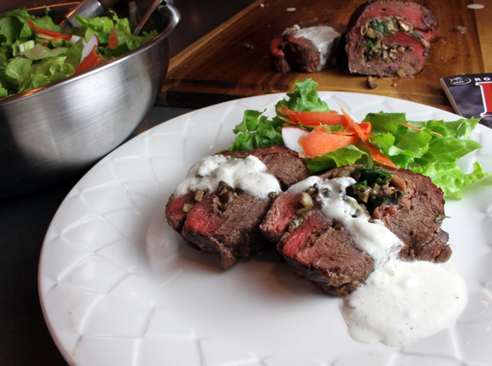 Nevada Foodies Succulent Elk Roulade with Creamy Gorgonzola Sauce