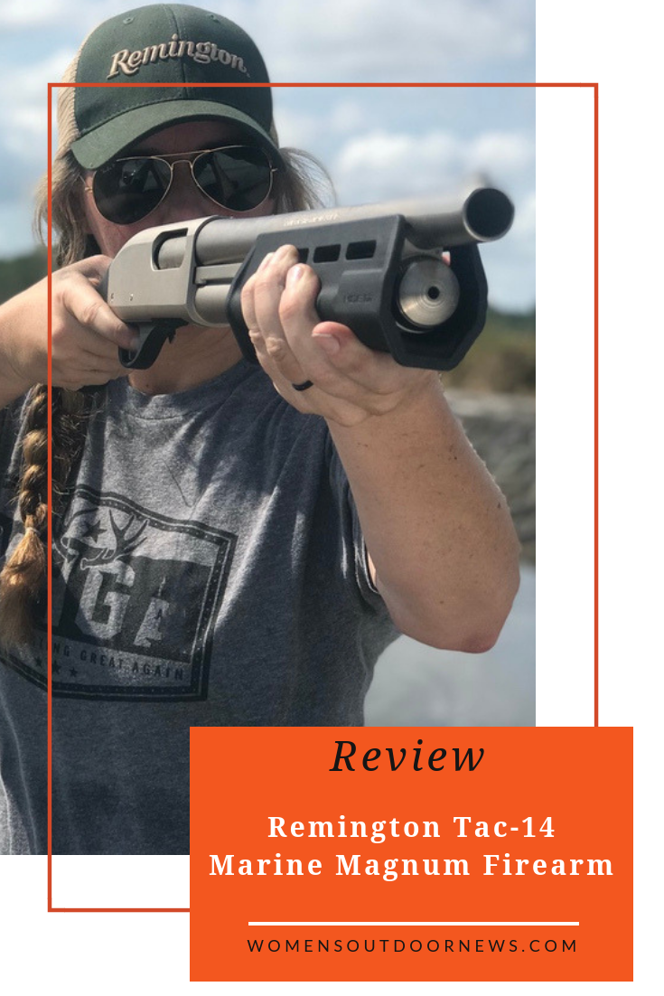 Hollis Lumpkin, from the South Carolina Lowcountry, reviews the Remington Model 870 Tac-14 Marine Magnum Firearm. Sponsored by Libery Safe. | #womensoutdoornews #Remington #Remingtontac14 #firearms #guns #secondamendment #2A #outdoorwomen #womenoutdoors #boating