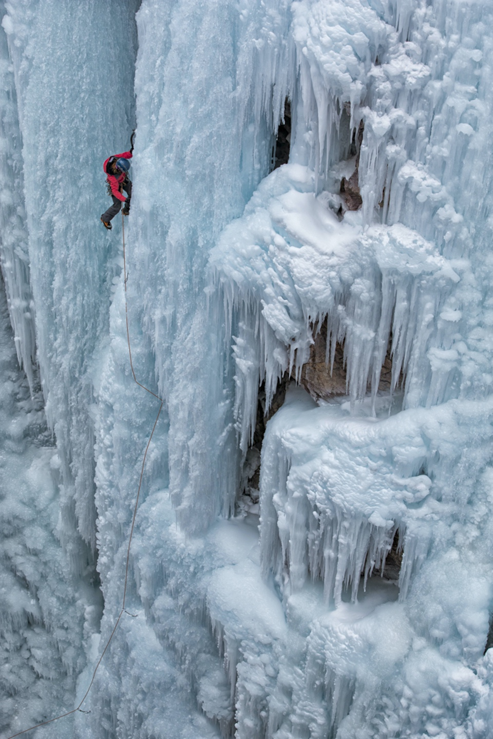 Kitty Calhoun ice climbing in Ouray Women's Clinics