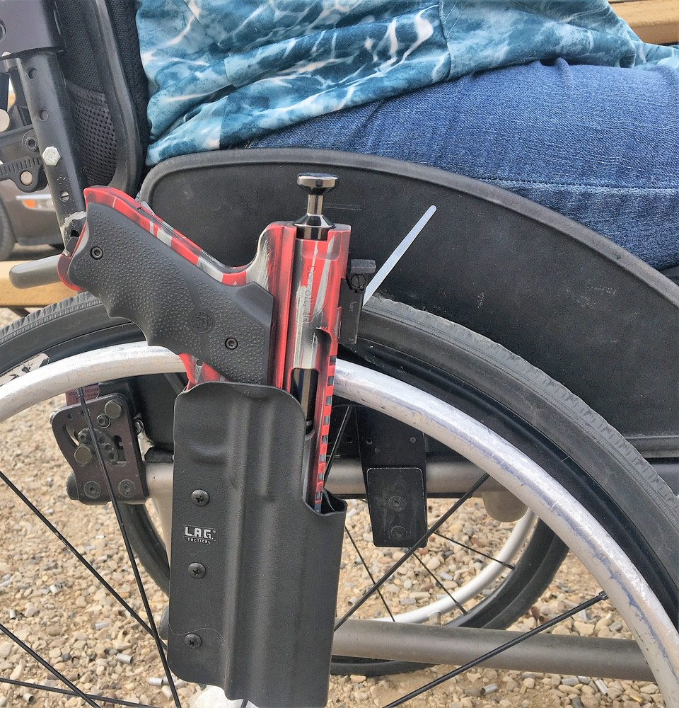 mounting gun to wheelchair