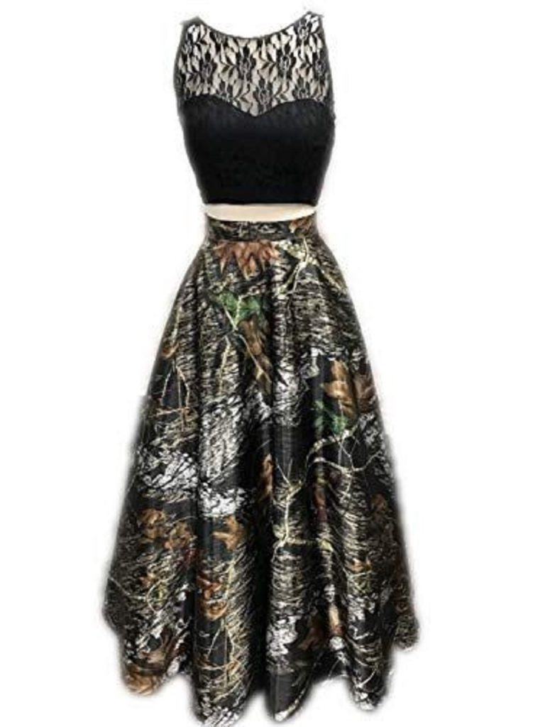BLACK LACE CAMOUFLAGE TWO PIECE DRESS Prom Camo