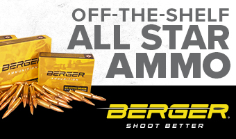 Berger Off-The-Shelf ALL STAR AMMO. Match grade projectiles, select propellants and superior cases, shoot better with Berger.