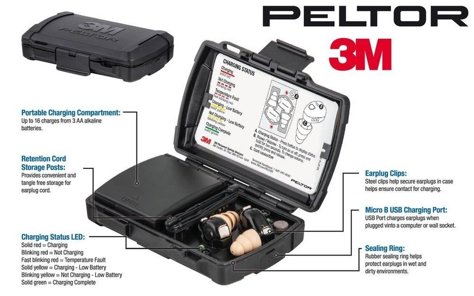 3M Peltor TEP-100 Tactical Ear Plugs with Rechargeable Case