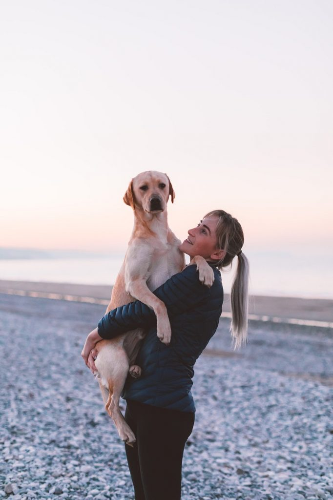 Woman with her Labrador