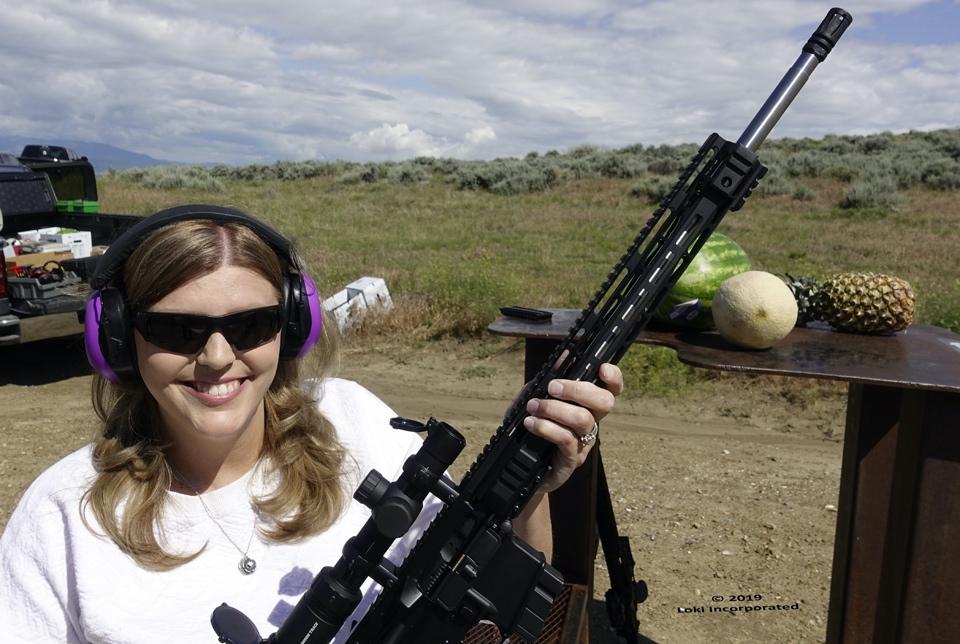 Ashlee Lundvall on the range with fruit