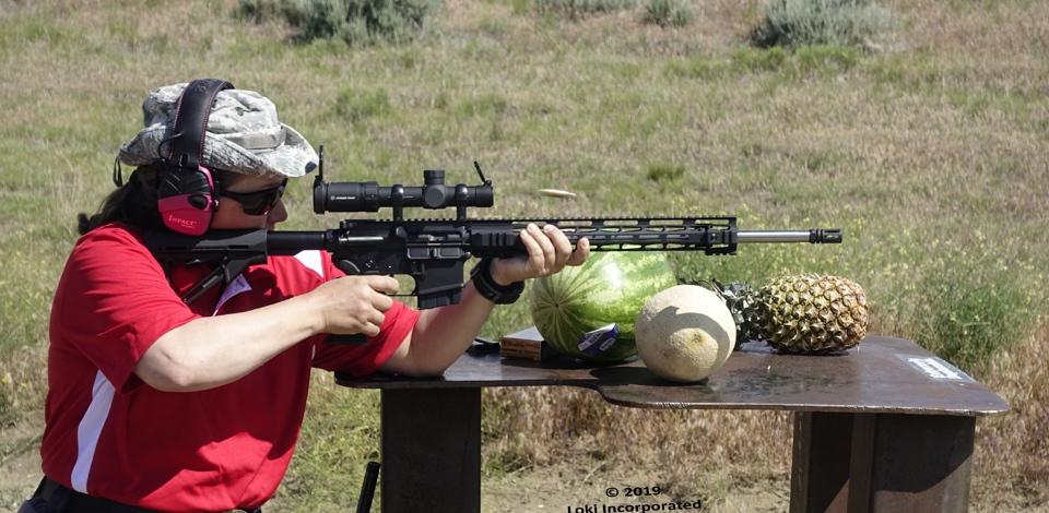 Jen Barcklay on range with 224 Valkyrie firearm