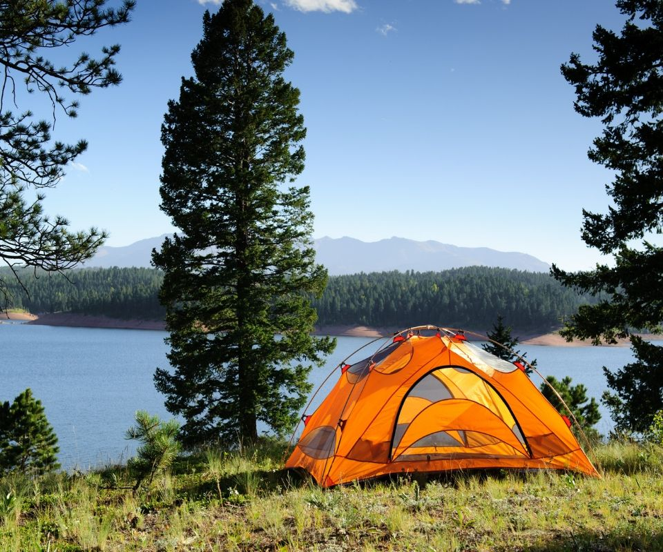 tent on lake Fishing and Camping Adventure