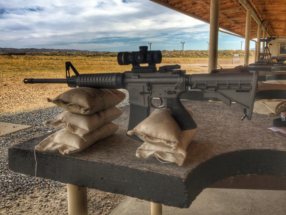 Ruger AR-556 in Tactical Gray Leupold Freedom Red Dot