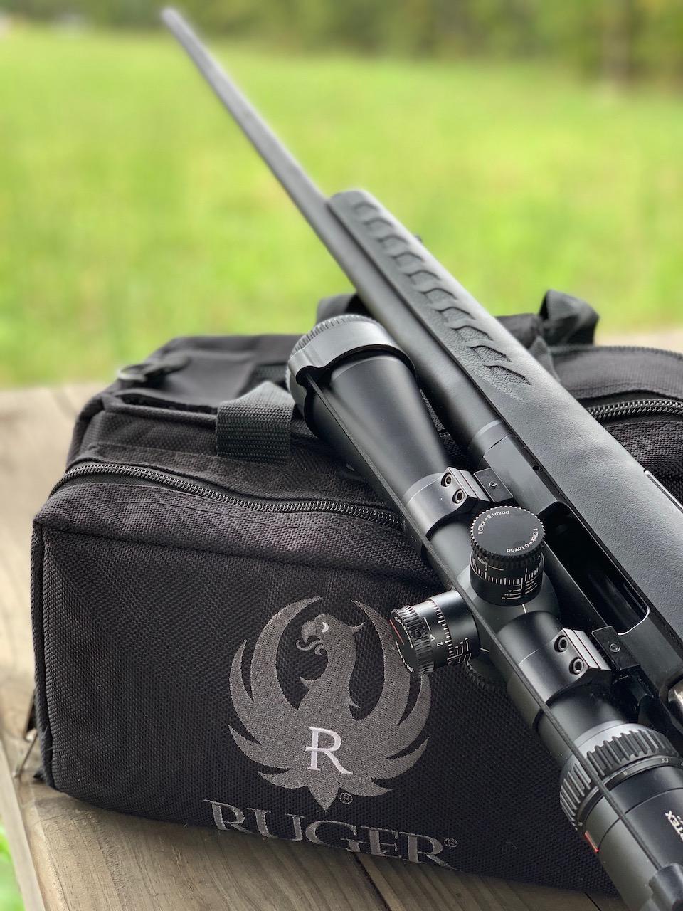 Ruger American rifle and range bag