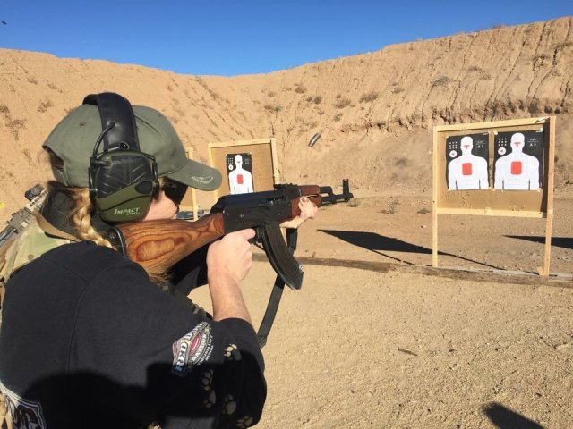 Jill Lockwood from Timney Triggers on range shooting Arizona