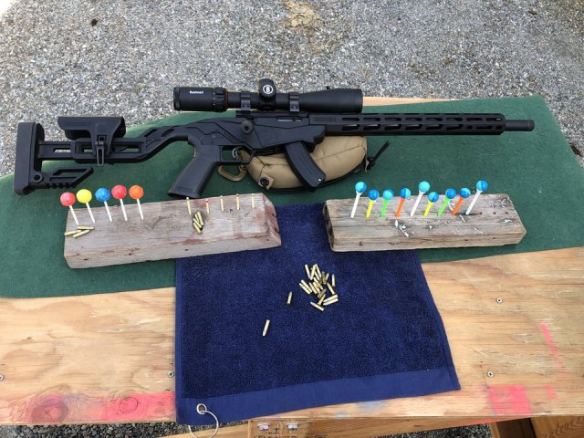 Lollipops, matchsticks and paintball on golf tees Ruger Precision rimfire rifle