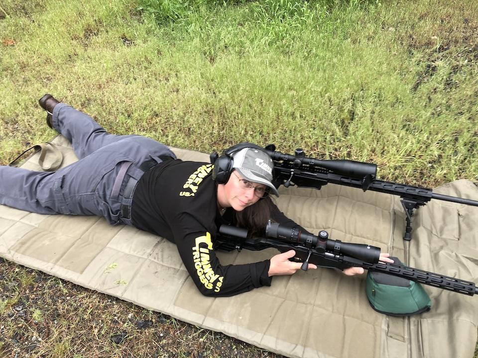 Jen with custom trigger on the range