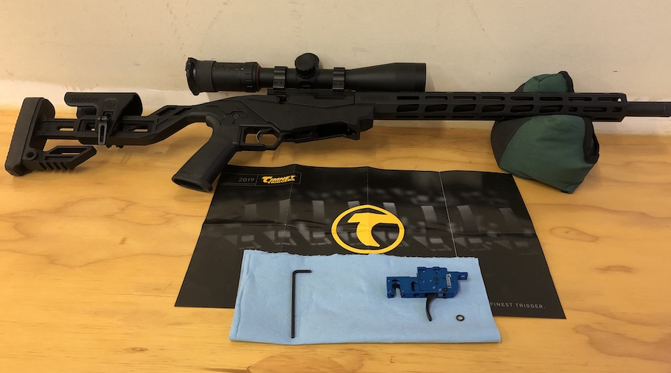 Ruger 22PR shown with the one tool to complete Timney trigger swap.
