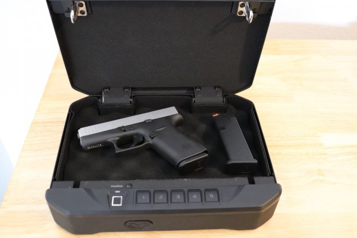 Skipalis GLOCK 43X inside Biometric Safe Firearm Storage Solutions