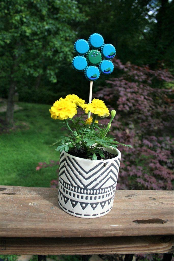 Upcycled Bottle Cap Flowers Blue