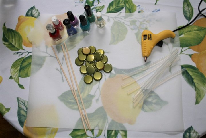 Upcycled Bottle Cap Flowers Materials