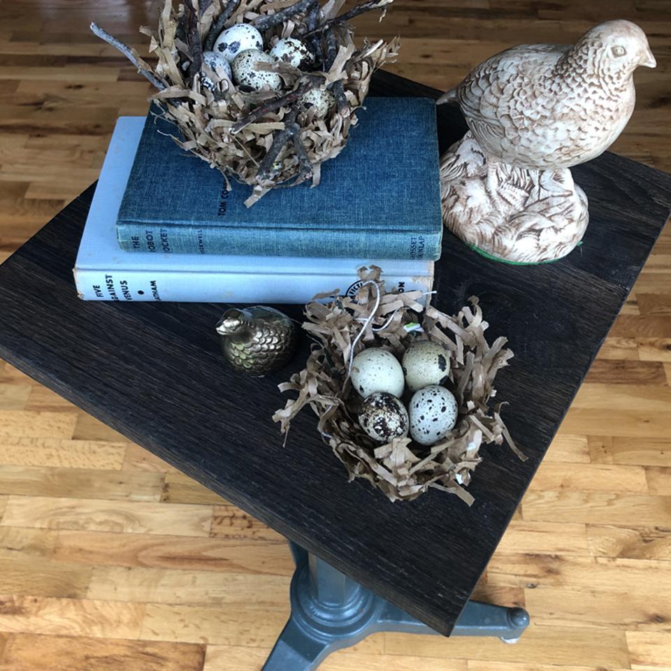 Bird Nests for Quail Eggs on Table