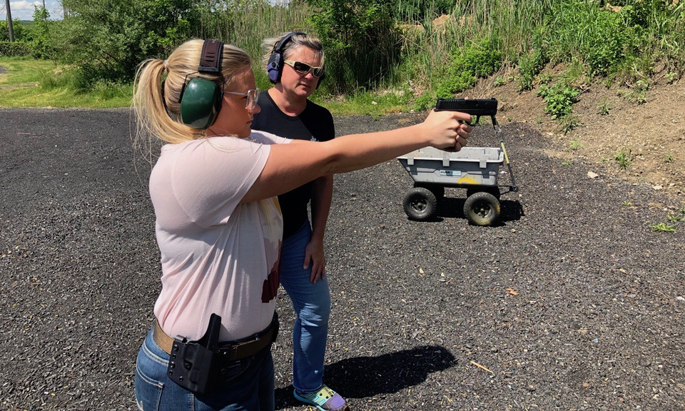 Cerino instructing on the range shooting Springfield XDS Concealed Carry
