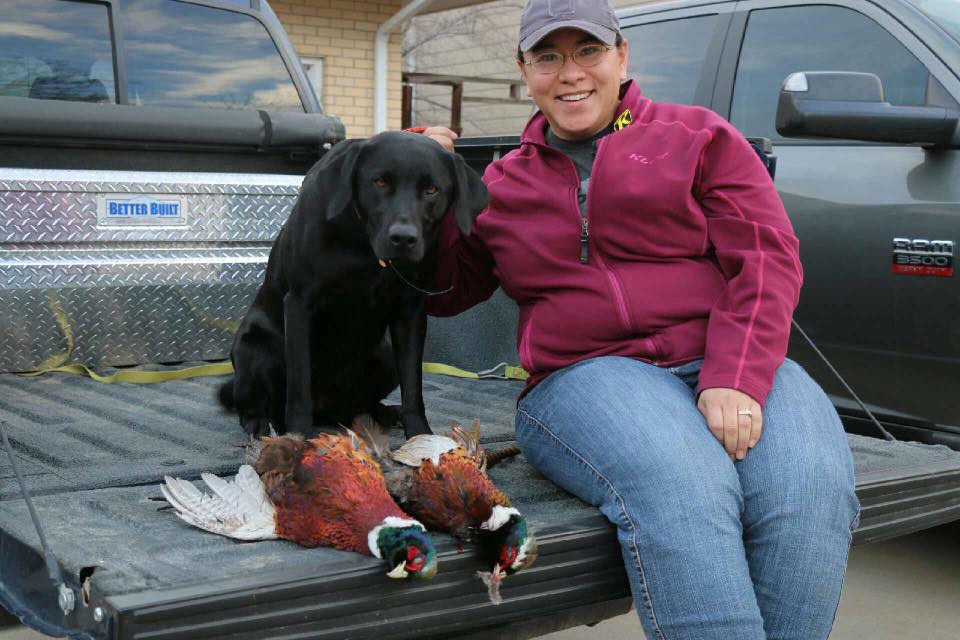 Emi Smith with Maya and pheasants