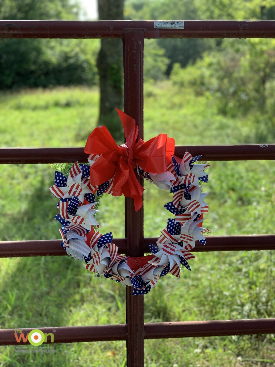 Patriotic Pinwheel wreath for Fourth of July