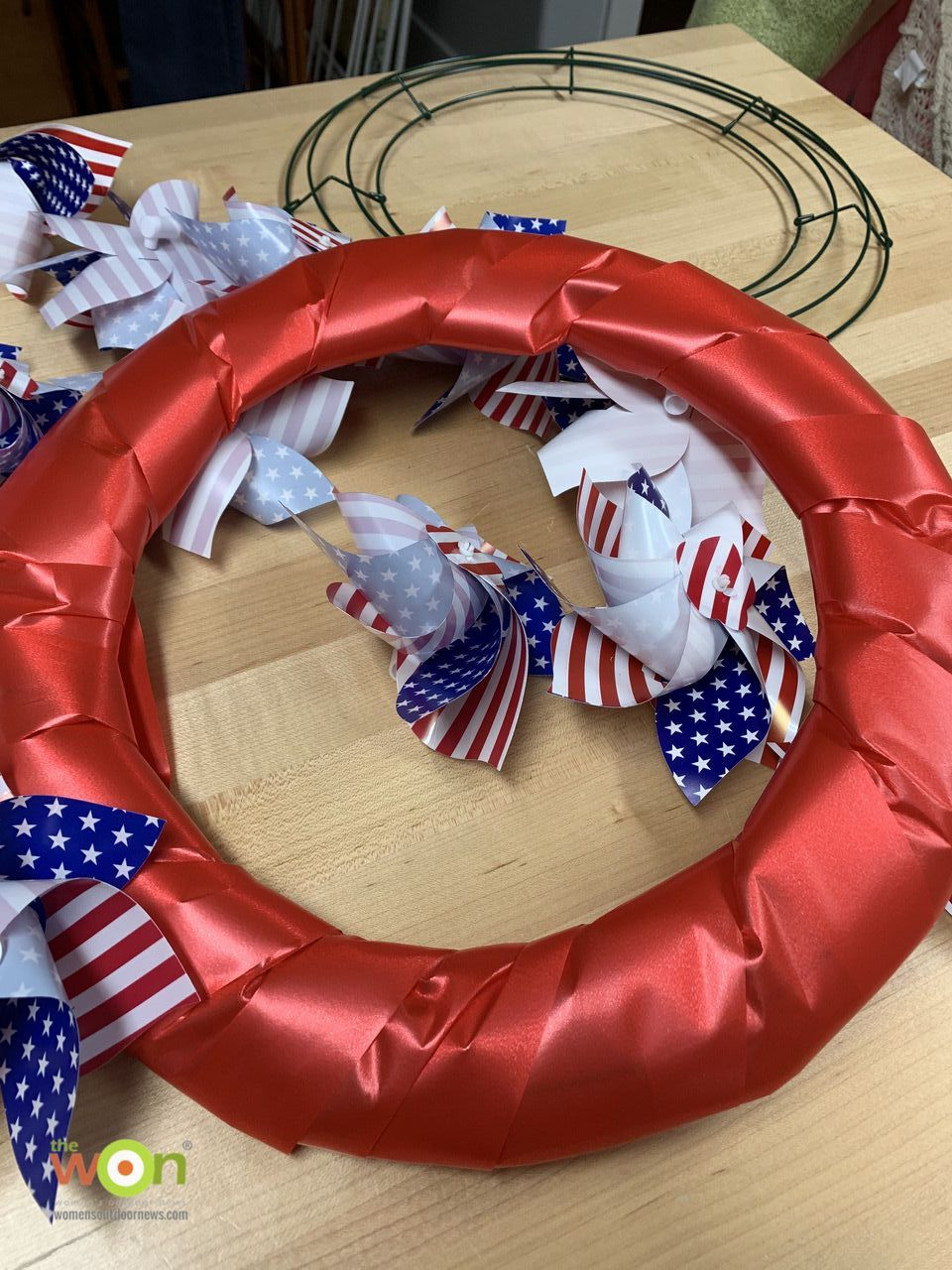 Patriotic pinwheel wreath Fourth of July in progress
