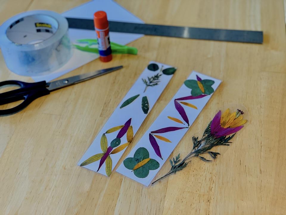 finished Pressed Flower Bookmarks craft