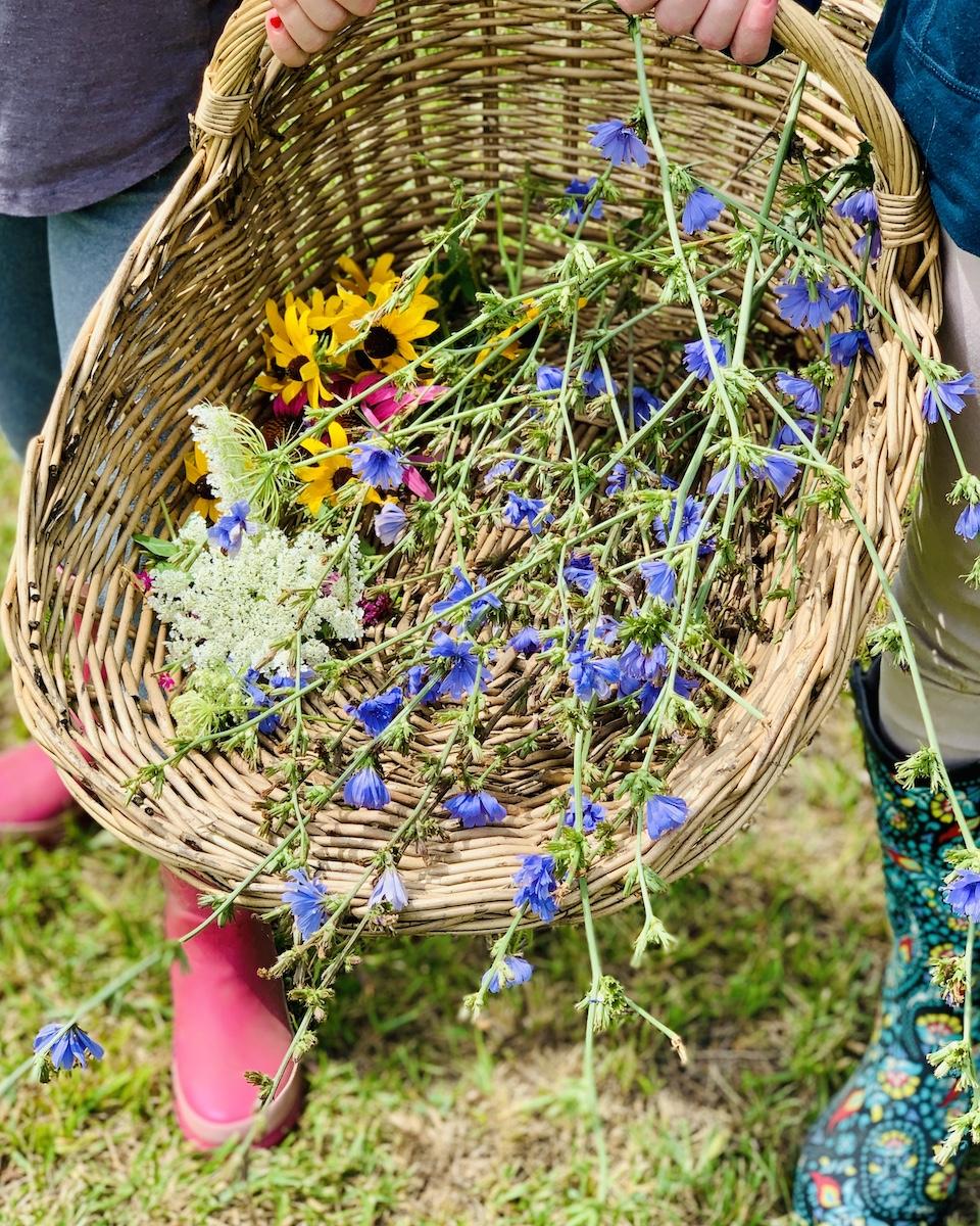 garden boots full basket of wild flowers
