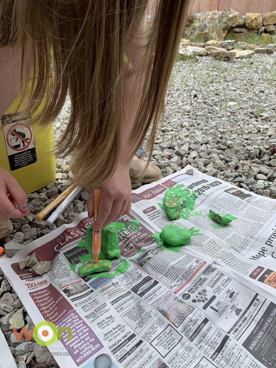 painting succulent rocks