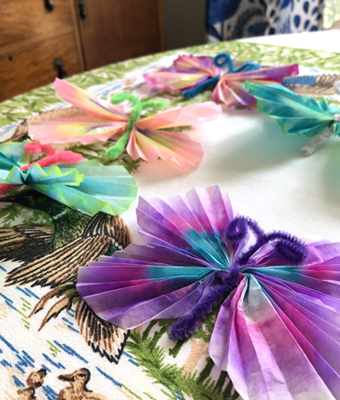 Colorful Coffee Filter Butterflies Finished Closeup Feature