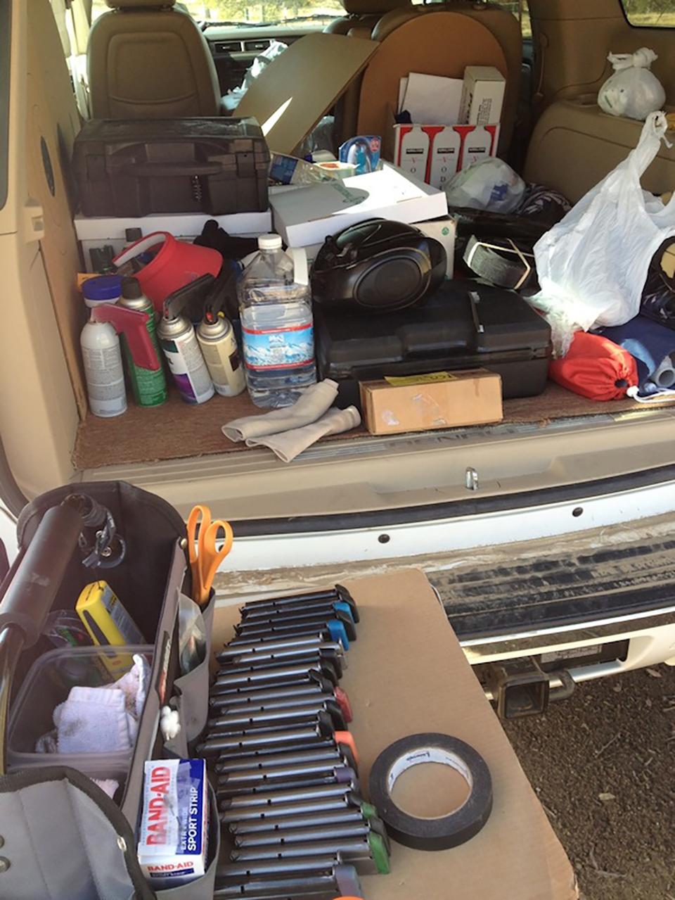 Vera Koo's shooting gear in car