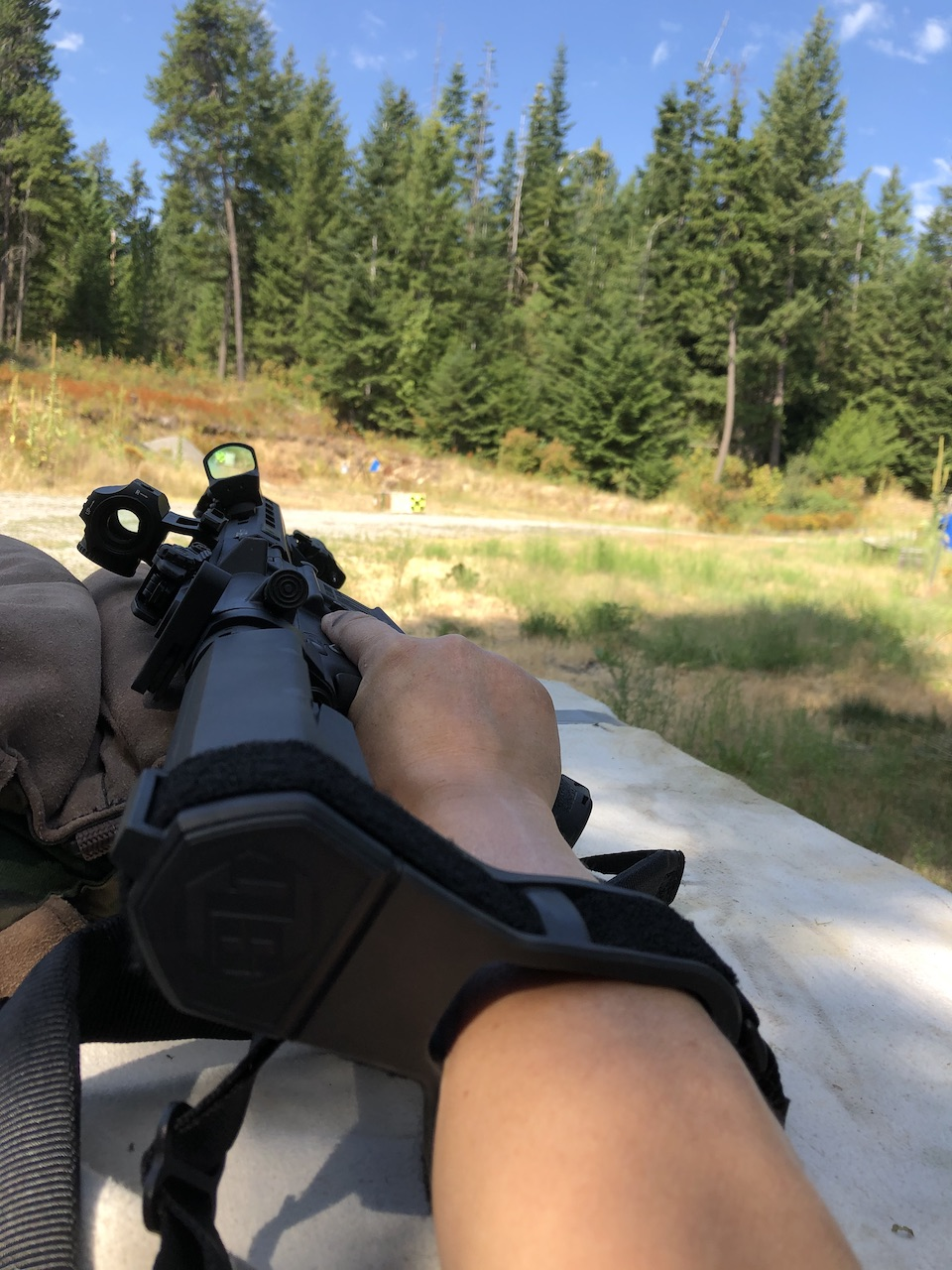 Shooting one handed with SBTA3 pistol brace through CTS1400 supported by sand bag