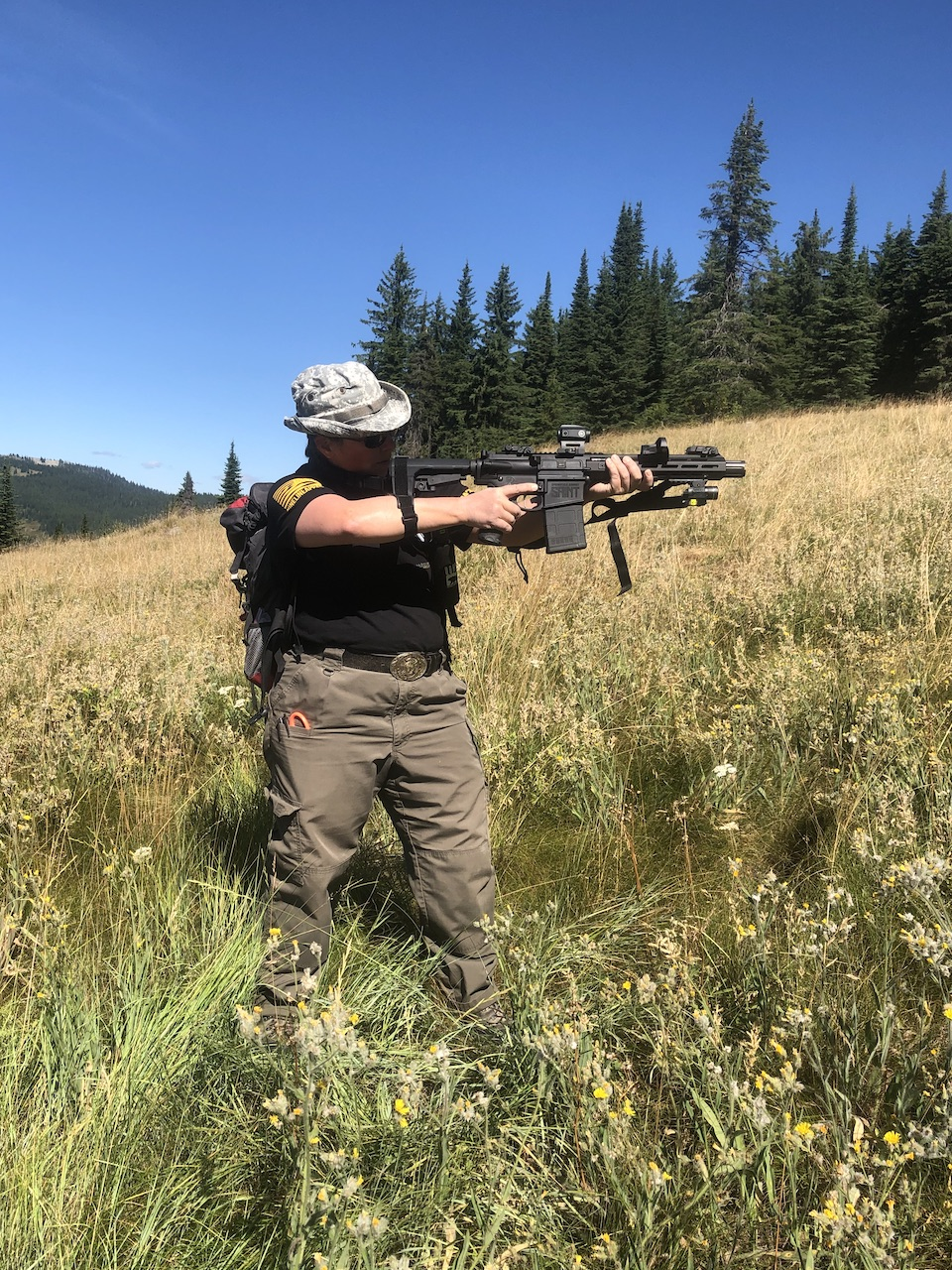 Shooting using pistol brace and sling for support(photo credit Sharon J.)