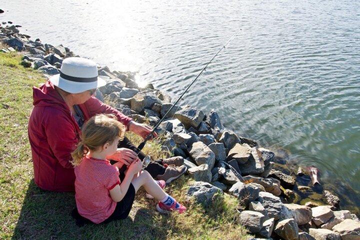 grandma and child fishing