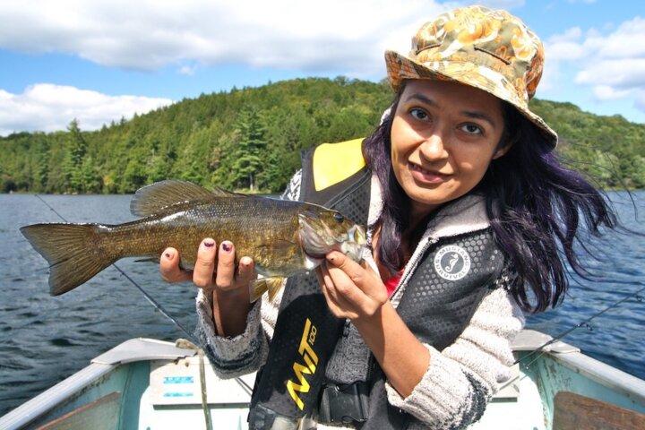 minority woman fishing