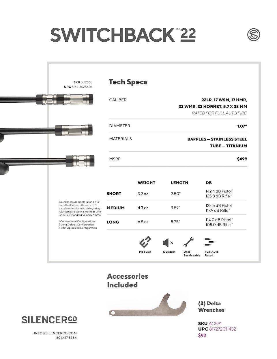 Switchback 22 Suppressor specs