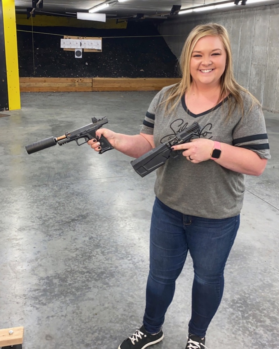 Brooklee with a Suppressed Glock and the Maxim 9